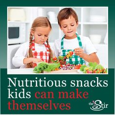 Healthy snacks kids can make themselves. We love that we don't have to lift a finger! (And maybe the kids will share -- these look tasty!)  http://thestir.cafemom.com/food_party/108797/5_healthy_snacks_your_kids