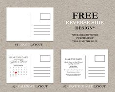 DIY Printable Calendar Save The Date Postcard by iDesignStationery