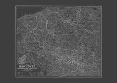 BLUEPRINT HANNOVER MAP Old Map of Hannover by EncorePrintSociety