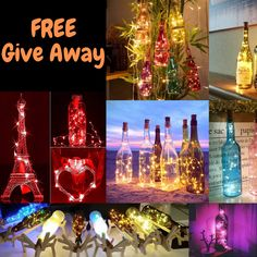 FREE Give Away! Best way to transform your used bottle! Glass Bottle Crafts, Wine Bottle Art, Lighted Wine Bottles, Bottle Bottle, Glass Bottles, Led Bottle Light, Bottle Lights, Cork Crafts, Diy And Crafts