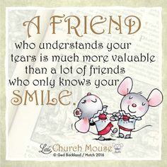 ❤❤❤ A Friend who understands your tears is much more valuable than a lot of friends who only knows your Smile. Amen...Little Church Mouse. 27 Feb. 2016 ❤❤❤