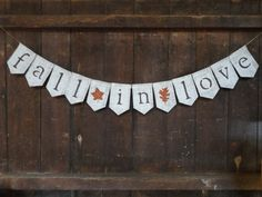 Fall in Love Burlap Banner, Fall in Love Bunting, Burlap Garland, Fall Wedding Decor, Engagement Banner, Photo Prop, Bridal Shower Decor