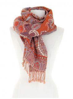 Echarpe orange et bleue en laine brodée