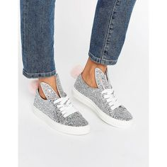 official photos d0a97 0fb56 Minna Parikka Tail Sneaks Silver Glitter Sneakers ( 384) ❤ liked on  Polyvore featuring shoes