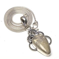 HOWLITE-STONE-925-STERLING-SILVER-OVERLAY-VINTAGE-PENDANT-NECKLACE-CHAIN