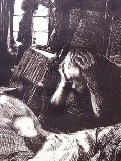 Käthe Kollwitz (8 July 1867 – 22 April 1945) was a German painter, printmaker, and sculptor whose work offered an eloquent and often searing account of the human condition, and the tragedy of war, in the first half of the 20th century. Her empathy for the less fortunate, expressed most famously through the graphic means of drawing, etching, lithography, and woodcut, embraced the victims of poverty, hunger, and war.[1][2]