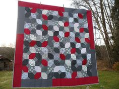 Black, Grey and Red Quilt | Blueberry Patch
