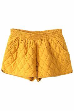 ROMWE | ROMWE Diamond Pattern Split Sides Yellow Shorts, The Latest Street Fashion