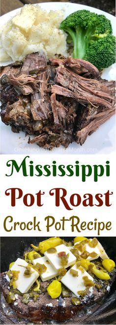Mississippi Pot Roast - One Hundred Dollars a Month Pot Roast Recipes, Kale Recipes, Easy Dinner Recipes, Crockpot Recipes, Dinner Ideas, Slow Cooker Beef, Slow Cooker Recipes, Cooking Recipes