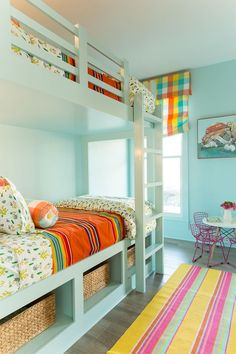 Bright and colorful shared girls room with bunk beds