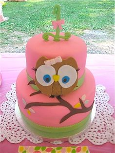 I know a little girl who will need this pink owl cake for her first birthday.