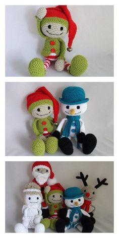 Crochet Christmas Ornaments, Christmas Crochet Patterns, Holiday Crochet, Christmas Knitting, Christmas Elf, Crochet Amigurumi Free Patterns, Crochet Blanket Patterns, Crochet Toys, Free Crochet