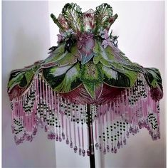 Rare Large French Glass Beaded Lamp Shade Czech Fringe Rare Large French Glass Beaded Lamp Shade Czech Fringe : 2 Much 2 Keep Victorian Lamps, Antique Lamps, Victorian Lamp Shades, Shabby Chic Lamps, I Love Lamp, Cool Lamps, Beaded Flowers, Bohemian Decor, Floor Lamp