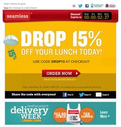 This email from Seamless uses a live countdown clock to show the limited time remaining on a special lunch promotion.