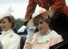 Lady Diana Spencer gives a shy wave as she rides with Princess Alexandra at Royal Ascot in June 1981.