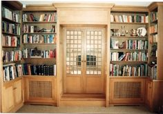 Oak fitted library furniture with integral radiator panels, storage cupboards at low level with shelving above. Georgian style french doors to match. Library Furniture, Furniture Design, Cupboard Storage, Bespoke Furniture, Joinery, French Doors, Cupboards, Cabinets, Shelving