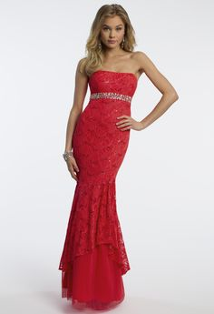 Camille La Vie Sequin Lace Mermaid Prom Dress