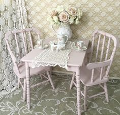A personal favorite from my Etsy shop https://www.etsy.com/listing/262067198/shabby-jenny-lind-table-and-chair