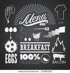 Illustration of a vintage graphic element for menu on blackboard - stock vector