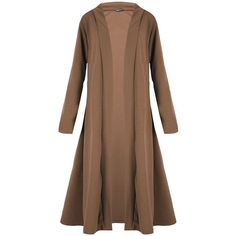 Oops Outlet Women's Open Front Floaty Waterfall Long Sleeve Baggy Maxi... ($10) ❤ liked on Polyvore featuring tops, cardigans, brown open front cardigan, brown tops, long sleeve open front cardigan, maxi length cardigan and brown cardigan