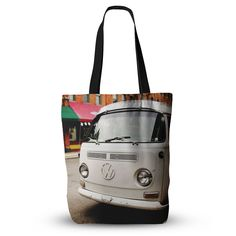 "Angie Turner ""VW Bus"" White Vintage Everything Tote Bag"