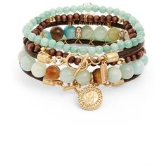Women's Canvas Jewelry Amazonite Multi-Strand Bracelet ($30) ❤ liked on Polyvore featuring jewelry, bracelets, light pastel blue, blue jewelry, blue bangles, beaded bangles, beading jewelry and bead jewellery