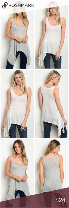 42a03f21e38 SALE 3  30 ⭐ Ivory Tunic Tank Top 11001 96% RAYON 4% SPANDEX Shark Bite  Hem. Also available in gray