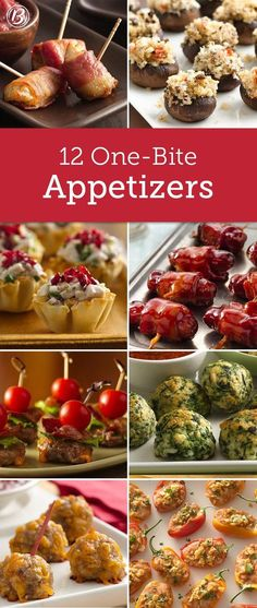 13 One-Bite Appetizers Think mini! These small appetizer bites are perfect for mixing and mingling at parties. And best of all, each recipe makes a nice-sized batch, making them ideal for potlucks and open houses! One Bite Appetizers, Finger Food Appetizers, Appetizers For Party, Avacado Appetizers, Prociutto Appetizers, Mexican Appetizers, Halloween Appetizers, Cheese Appetizers, Healthy Appetizers