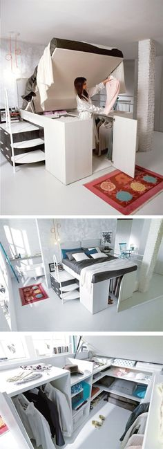 31 Small Space Ideas to Maximize Your Tiny Bedroom For those of people who live in small apartments, lofts or a compact house, keep the small bedrooms from clutter must be an everyday challenge. Fortunately, there are a lot of smart storage solutions help Small Bedroom Designs, Bedroom Storage Ideas Diy, Underbed Storage Ideas, Bedroom Storage Ideas For Small Spaces, Design Bedroom, Storage Drawers, Storage Spaces, Bedroom Storage Solutions, Organizing Small Bedrooms