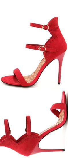 Red Suede Ankle Strap Heels