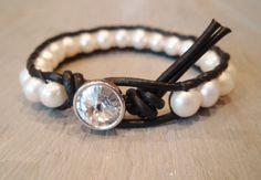 Freshwater pearl leather wrap bracelet - Diamonds & Pearls - luxe ivory white pearls, black leather, rhinestone, bohemian jewelry. $62.00, via Etsy.