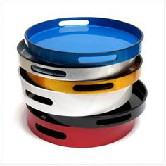 Round Lacquer Drinks Trays - part of a beautiful collection at Nom Living. £30 each. www.nomliving.com/products/9/all/home