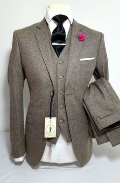 Men's tan 3 piece tweed suit wedding party prom tailored smart in Clothes, Shoes & Accessories, Men's Clothing, Suits & Tailoring. 3 Piece Tweed Suit, 3 Piece Suits, 2 Piece Prom Suit, 3 Piece Suit Wedding, Three Piece Suit, Tweed Wedding Suits, Tweed Suits, Sharp Dressed Man, Well Dressed Men