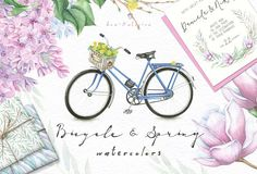 Spring and Bicycle Watercolors by Eva-Katerina on @creativemarket