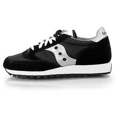 Saucony Jazz Original Mens 2044-1 Black Silver Running Shoes Sneakers Size 13