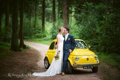 yellow fiat 500 wedding car