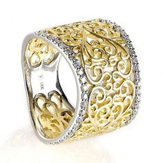 Diamond Lace Ring in 18kt Yellow and White Gold