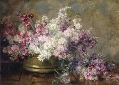 Petit Galerie d'Art: noviembre 2014......Marie Egner. Copper bowl filled with white and pink flowers 1940