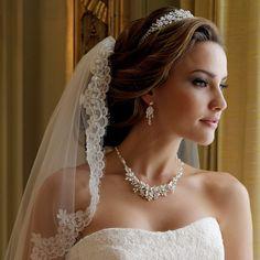 Elegance By Carbonneau Floral Fantasy Pearl Wedding Jewelry Set Wedding Veils, Wedding Dresses, Bridal Veils, Wedding Bride, Bridesmaid Dresses, Bridal Necklace, Floral Necklace, Pearl Necklace, Necklace Set