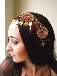 Belly Dance Headpiece- Tribal Fusion, Festival, Costume- Shimmy Shimmy Ya- Red and Gold. $65.00, via Etsy. includes description on pieces that make it up and how to hold it in place with alligator clip in hair.