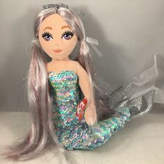 From the Ty Sea Sequins collection. Ty Beanie Boos, Mermaid Coloring, Color Change, Elsa, 18th, Sequins, Disney Princess, Detail, Medium