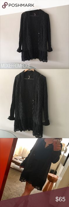 Free People charcoal cardigan Cozy cardigan from Free People. In excellent condition. Has whimsical buttons and beautiful soft knit with eyelet detail along bottom. Wool/polyester/rayon and cotton. Free People Sweaters Cardigans