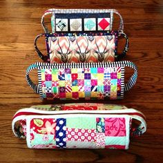 Four of seven sew together bags by Three Owls, via Flickr