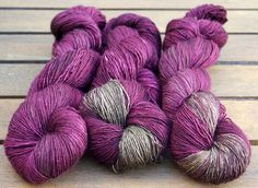 Hand dyed fingering weight single ply merino  by FlockandNeedle