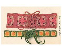 Granny Square Belt Crochet Pattern Laced Cinch Belt & Hip Belt Hippie Belt Pattern Instant Download PDF Vintage Pattern - C54 by DigitalPatternShop on Etsy