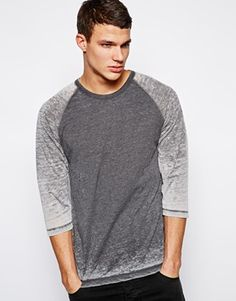 ASOS 3/4 Sleeve Contrast Raglan In Burn Out Fabric