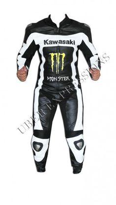 Kawasaki Monster Black White One Piece Motorbike Racing Leather Suit