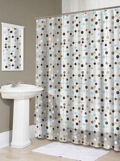 Blue bathroom shower curtains blue brown shower curtain blue and Cozy Bathroom, New Bathroom Ideas, Bathroom Rack, Design Bathroom, Bath Ideas, Bathroom Inspiration, Vinyl Shower Curtains, Bathroom Shower Curtains, Traditional Shower Curtains
