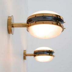 Sergio Mazza Sigma Wall Lamps Or Sconces From Italy In Solid Brass And  Holophane Glass. Pictures