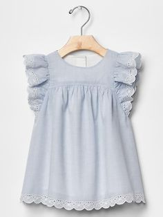 Eyelet flutter dress